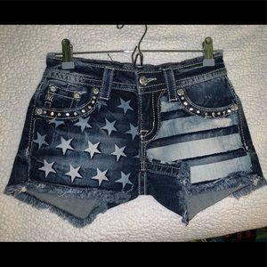 Miss Me American Flag Shorts 25